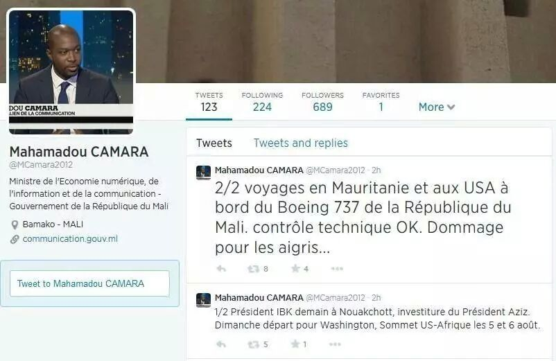 le tweet du Ministre Malien de la Communication