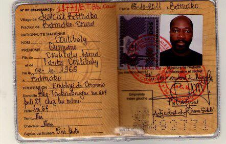 Carte d'identité Malienne de Charles Blé Coudé. Crédit photo: maliactu.net